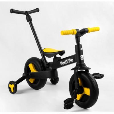 Детский велосипед-трансформер Best Trike 58195 ЖЕЛТЫЙ (складной)