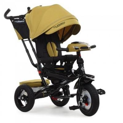 Детский трехколесный велосипед M 4060 Turbo Trike Горчичный с USB, поворотным сидением + пульт