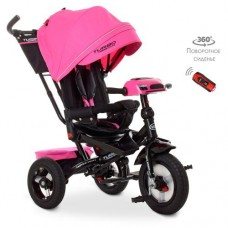 Детский трехколесный велосипед M 4060 Turbo Trike РОЗОВЫЙ с USB, поворотным сидением + пульт