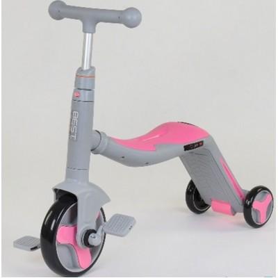 Детский трехколесный самокат 3в1 СЕРО-РОЗОВЫЙ (самокат-велобег-велосипед)