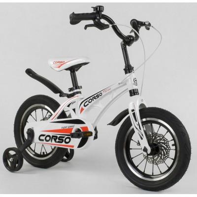Детский двухколесный велосипед Corso MG-14 S 499 магниевая рама, дисковые тормоза 14 дюймов