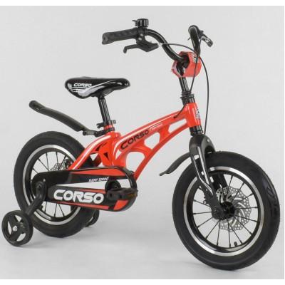 Детский двухколесный велосипед Corso MG-14 S 615 магниевая рама, дисковые тормоза 14 дюймов