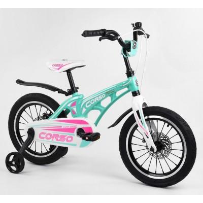 Детский двухколесный велосипед Corso MG-16101 магниевая рама, дисковые тормоза 16 дюймов