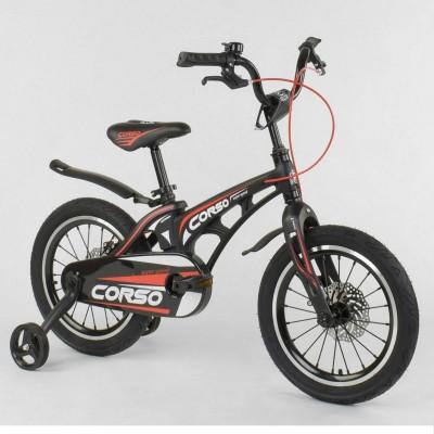 Детский двухколесный велосипед Corso MG-16 Y 464 магниевая рама, дисковые тормоза 16 дюймов