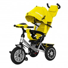 Детский трехколесный велосипед с фарой T-362/2 Camaro Желтый с поворотным сидением
