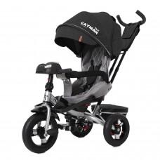 Детский трехколесный велосипед TILLY CAYMAN T-381/6 с пультом и USB Темно-серый лён