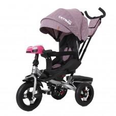 Детский трехколесный велосипед TILLY CAYMAN T-381/6 с пультом и USB Фиолетовый лён