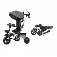 Детский трехколесный велосипед TILLY Flip T-390 Серый с поворотным сидением, складной