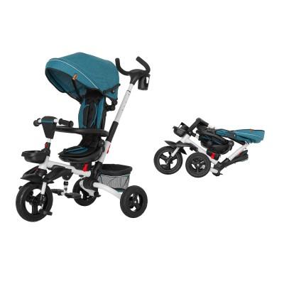 Детский трехколесный велосипед TILLY Flip T-390 зеленый с поворотным сидением, складной