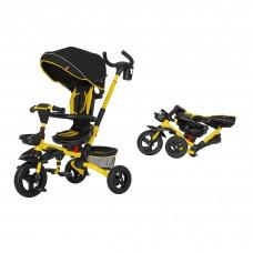 Детский трехколесный велосипед TILLY Flip T-390 Желтый с поворотным сидением, складной