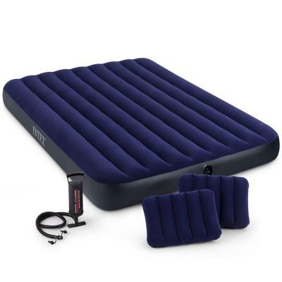 Велюр матрац 64765 Intex152*203 см с подушками и насосом