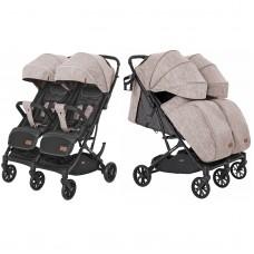 Детская прогулочная коляска для двойни CARRELLO Presto Duo CRL-5506 Steam Beige + дождевик