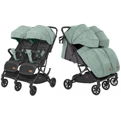 Детская прогулочная коляска для двойни CARRELLO Presto Duo CRL-5506 Tea Green + дождевик