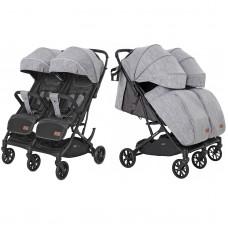 Детская прогулочная коляска для двойни CARRELLO Presto Duo CRL-5506 Pitch Grey + дождевик
