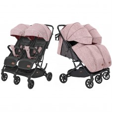 Детская прогулочная коляска для двойни CARRELLO Presto Duo CRL-5506 Cherry Pink + дождевик