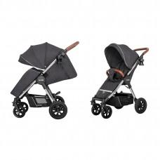 Детская прогулочная коляска CARRELLO Supra CRL-5510 Solid Grey + дождевик, резиновые колеса