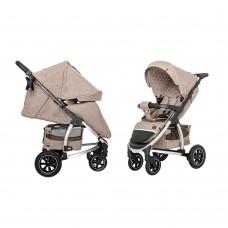 Детская прогулочная коляска CARRELLO Vista CRL-5511 Stone Beige в льне + дождевик, резиновые колеса