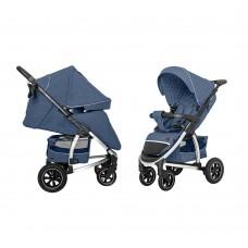 Детская прогулочная коляска CARRELLO Vista CRL-5511 Denim Blue в льне + дождевик, резиновые колеса