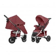 Детская прогулочная коляска CARRELLO Vista CRL-5511 Ruby Red в льне + дождевик, резиновые колеса