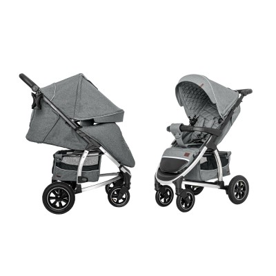 Детская прогулочная коляска CARRELLO Vista CRL-5511 Shark grey в льне + дождевик, резиновые колеса