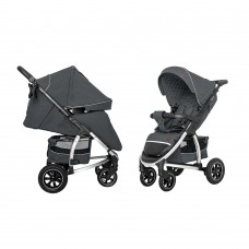 Детская прогулочная коляска CARRELLO Vista CRL-5511 Steel Grey в льне + дождевик, резиновые колеса