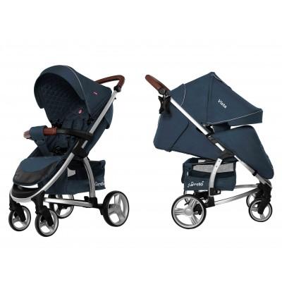 Детская прогулочная коляска CARRELLO Vista CRL-8505 Denim Blue в льне + дождевик