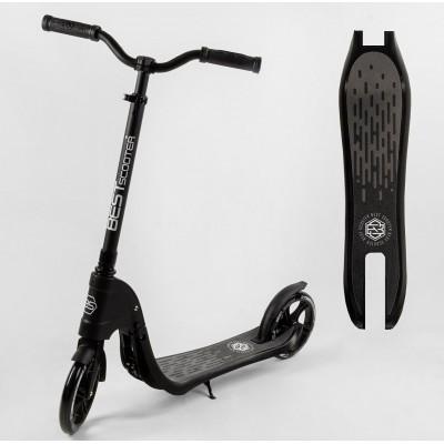 Самокат двухколесный 74077 'Best Scooter' (2) цвет ЧЕРНЫЙ, колеса PU - 20 см, широкий велосипедный руль, новый зажим руля, в коробке