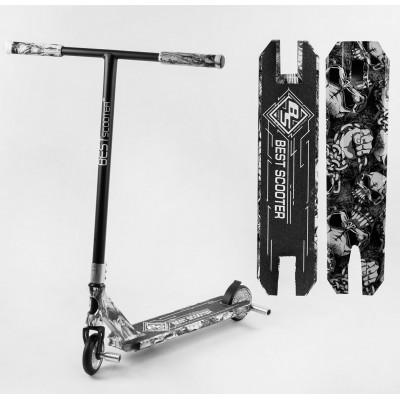 Самокат трюковый Best Scooter BS-99600 (4) HIC-система, ПЕГИ, алюминиевый диск и дека с ПРИНТОМ, колёса PU, d=110мм, ширина руля - 60 см, в коробке