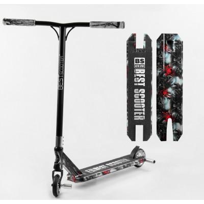 Самокат трюковый Best Scooter BS-77101 (4) HIC-система, ПЕГИ, алюминиевый диск и дека с ПРИНТОМ, колёса PU, d=110мм, ширина руля - 60 см, в коробке