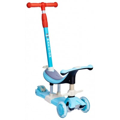 Детский трехколесный самокат с ручкой Maraton Credo 3в1 Аквамарин