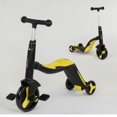 Детский трехколесный самокат 3в1 ЖЕЛТЫЙ  (самокат-велобег-велосипед)
