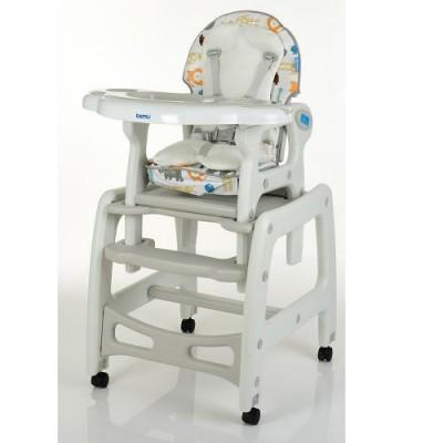 Детский стульчик для кормления трансформер на колесиках M 1563 Animal Grey