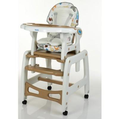 Детский стульчик для кормления трансформер на колесиках M 1563 Animal Brown