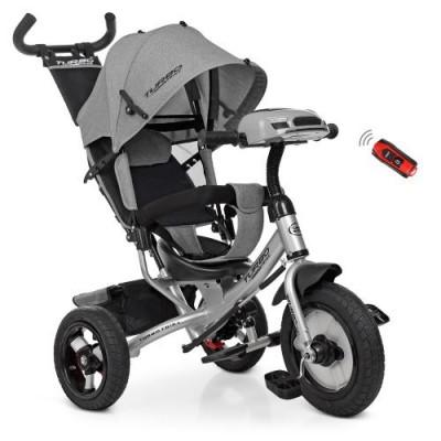 Детский трехколесный велосипед Turbo Trike M 3115HA-19L СЕРЫЙ ЛЁН с USB
