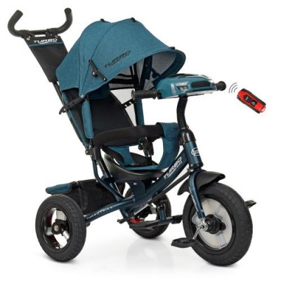 Детский трехколесный велосипед Turbo Trike M 3115HA-21L ИЗУМРУД ЛЁН с USB