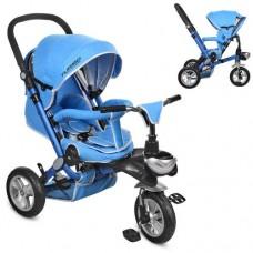 Детский трехколесный велосипед Turbo Trike M AL3645A-12 Air складной СИНИЙ (надувные колеса)