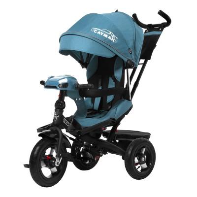 Детский трехколесный велосипед TILLY CAYMAN T-381/2 с пультом и USB Зеленый лён