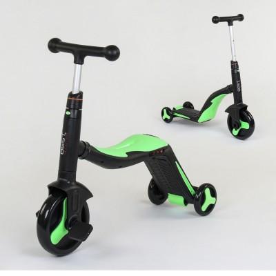 Детский трехколесный самокат 3в1 САЛАТОВЫЙ (самокат-велобег-велосипед)