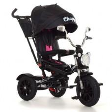 Детский трехколесный велосипед Turbo Trike Chopper M 4056HA-20-4 с поворотным сидением Черный с розовыми ремнями