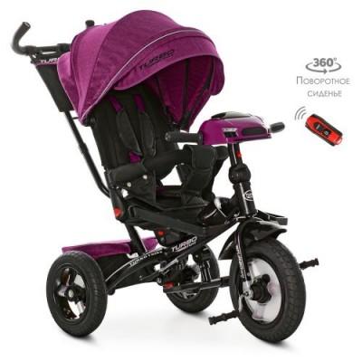 Детский трехколесный велосипед M 4060 Turbo Trike ФУКСИЯ ТВИД с USB, поворотным сидением + пульт