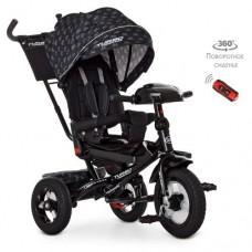 Детский трехколесный велосипед M 4060 Turbo Trike Черный с рисунком с поворотным сидением + пульт
