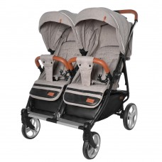 Детская прогулочная коляска для двойни CARRELLO Connect CRL-5502 Cotton Beige в льне + дождевик