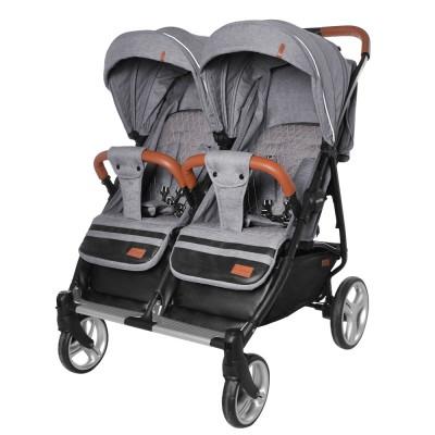 Детская прогулочная коляска для двойни CARRELLO Connect CRL-5502 Ink Gray в льне + дождевик