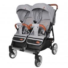 Детская прогулочная коляска для двойни CARRELLO Connect CRL-5502 Rock Gray в льне + дождевик
