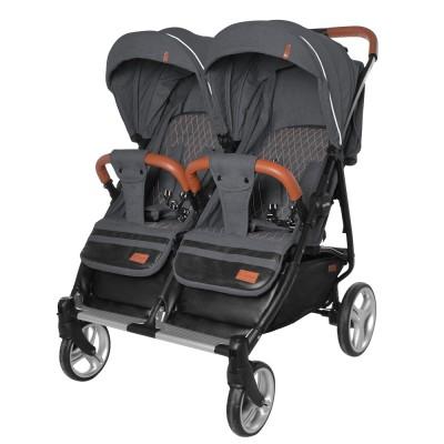 Детская прогулочная коляска для двойни CARRELLO Connect CRL-5502 Serious Black в льне + дождевик