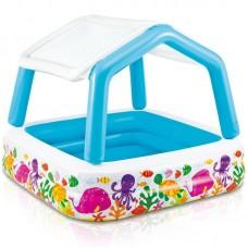 Детский надувной бассейн с крышей 57470 Intex Домик
