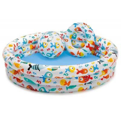 Детский надувной бассейн с мячом и кругом 59469 Intex