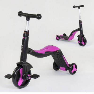 Детский трехколесный самокат 3в1 РОЗОВЫЙ (самокат-велобег-велосипед)