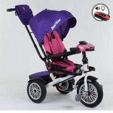 Детский трехколесный велосипед Best Trike 9288 B - 7598 с поворотным сидением + пульт ФИОЛЕТОВЫЙ (белая рама)