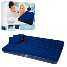 Велюровый матрас надувной с подушками 68765 Intex